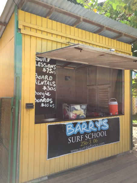 barbados surfing barry's surf school sign